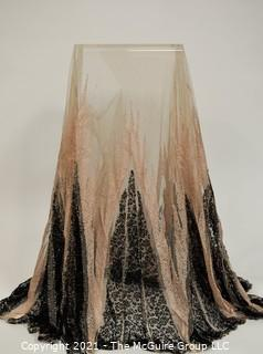 Vintage Pale Pink & Black Lace Mantilla with Detailed Edge.  Very Delicate condition due to age.  Some damage to center.