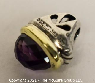 """David Yurman Sterling Silver with 14kt Gold Detail Amethyst Acorn Pendant.  Measures approximately 3/4"""" in length."""