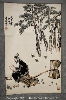 "Asian Scroll Painting Depicting Man Reading with Straw Bundles. Signed with Chopmark.  Silk and Paper. Measures approximately 20 1/2"" x 59""."