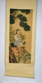 "Asian Scroll Painting Depicting Cranes Standing Atop Rocks With Pine Trees Signed with Chopmark.  Silk and Paper.  Measures approximately 18"" x 56"","