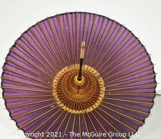 Vintage Asian Rice Paper and Rattan Parasol