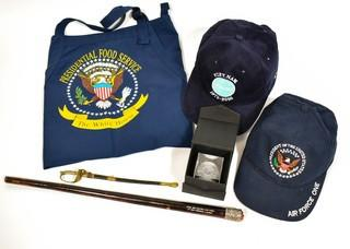 Group of Souvenir and Memorabilia Items.  Includes Air Force One, Pan American, Marine Memorial, Gift from South Vietnamese General Nguyen Van Thieu to US General Frederick Karch & Sword.