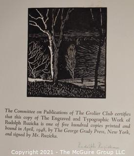 Book: The Grolier Club Exhibit Pamphlet of Rudolf Ruzika; signed
