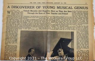Willa Cather, Edith Lewis and Yehudi Menuhin:  An archive of letters, photos, books, press clippings, concert programs and other materials documenting the close friendship between Cather and Lewis with Menuhin and his family.