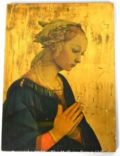 Hand Painted Madonna Icon on Board.