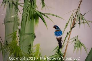 """Framed Oil on Board of Blue Bird in Bamboo with Asian Chopmark Signature. It measures approximately 25"""" x 20""""."""
