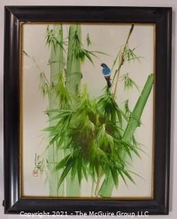 "Framed Oil on Board of Blue Bird in Bamboo with Asian Chopmark Signature. It measures approximately 25"" x 20""."