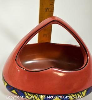 """Vintage Pink Erphila Art Pottery Made in Czechoslovakia Vase or Flower Basket. It measures approximately 7"""" long.r."""