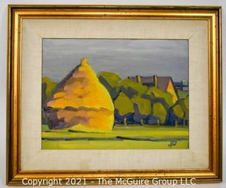 "Farmed Oil On Canvas Landscape ""Jesien ol"" Poland, Signature illegible; 21 x 25"""
