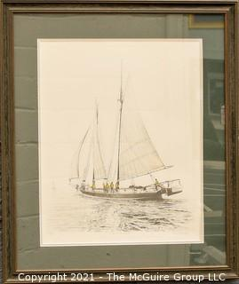 """Framed Under Glass Neil Harpe Limited Edition Original Lithograph """"Lady in the Mist"""" 42/200 with COA; 26 1/2 x 31"""""""