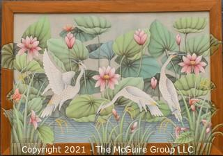 "Framed Oil on Canvas of Cranes in Water with Lily Pads Signed by Artist Wayan Suarka  Ubud; Bali Style.  It measures approximately 59"" x 41: in custom carved frame with extension of artwork."