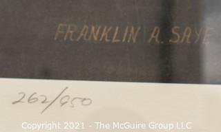 """Framed Under Glass Print of """"Tangier By Moonlight"""" by Franklin Saye, numbered 262/950, pencil signed by artist.  It measures approximately 27"""" x 39""""."""