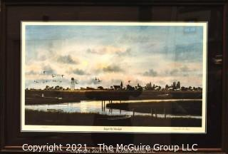 "Framed Under Glass Print of ""Tangier By Moonlight"" by Franklin Saye, numbered 262/950, pencil signed by artist.  It measures approximately 27"" x 39""."