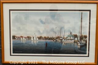 """Framed Under Glass Print of """" St. Michaels Harbor"""" by Franklin Saye, numbered 570/950, pencil signed by artist.  It measures approximately 25"""" x 37""""."""