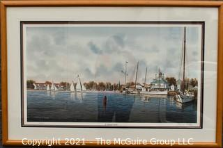 "Framed Under Glass Print of "" St. Michaels Harbor"" by Franklin Saye, numbered 570/950, pencil signed by artist.  It measures approximately 25"" x 37""."