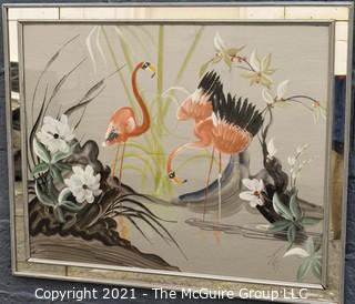 """Art Deco Pink Flamingos at Water's Edge in Mirrored Frame, Signed by Artist.  Measures approximately  29 x 36"""""""