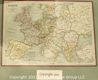 1926 Puzzle Map of Europe; framed under glass; 18 x 21""