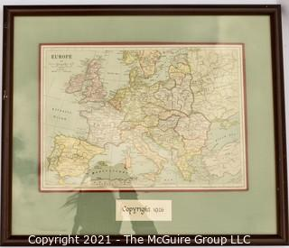 """1926 Puzzle Map of Europe; framed under glass; 18 x 21"""""""