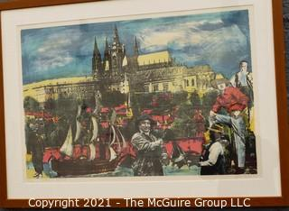 """Framed Under Glass Signed and Numbered Silk Screen of Street Scene in Poland. Signature Illegible.  23 1/2 x 31"""""""