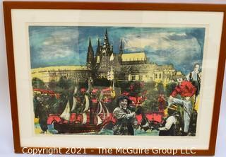Framed Under Glass Signed and Numbered Silk Screen of Street Scene in Poland. Signature Illegible.  23 1/2 x 31""
