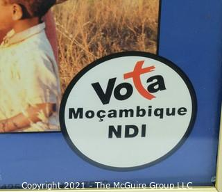"""Poster Promoting Voting in Mozambique; framed under glass; 20 x 26"""""""