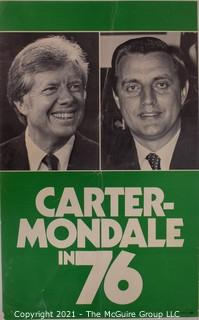 1978 Carter & Mondale Presidential Campaign Poster on Cardboard,
