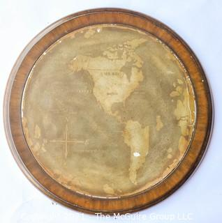 "Round Metal Wall Plaque Mounted on Wood with Map of the World.  Measures approximately 21"" diameter"