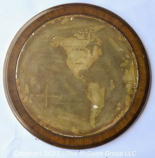 """Round Metal Wall Plaque Mounted on Wood with Map of the World.  Measures approximately 21"""" diameter"""
