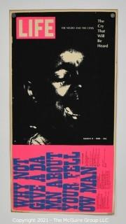 "Corita Kent, ""the cry that will be heard,"" 1969, Original Serigraph Framed Under Glass, Signed and Numbered by Artist. It Measures Approximately 13 X 24"""