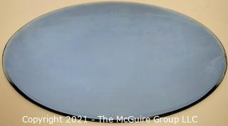 """Vintage Oval Shaped Beveled Blue Glass Mirror.  Measures approximately 12 x 16"""""""