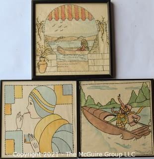 "Vintage Embroidered Fabric Squares Framed Under Glass.  Each measures approximately 16"" Square."