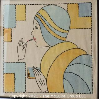 """Vintage Embroidered Fabric Squares Framed Under Glass.  Each measures approximately 16"""" Square."""