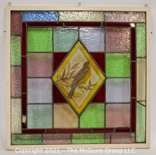 "Framed Stain Glass Window With Robin in Center on Copper Foiled Panel.  Measures approximately 33"" Square."