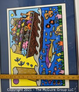 "Framed Under Glass Holly Sue Buningh Noah's Journey Numbered and Signed by Artist.  Measures approximately 18"" x 24""."