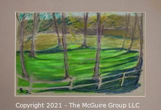 "Unframed Matted Pastel Landscape on Paper, Signed ""SR"" Lower Left.  Measures approximately 12 1/2 x 16""."