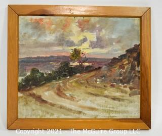 "Framed Oil on Board Landscape Signed by Artist on Back.  Signature Illegible.  Measures approximately 16"" x 18""."