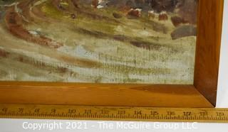 """Framed Oil on Board Landscape Signed by Artist on Back.  Signature Illegible.  Measures approximately 16"""" x 18""""."""