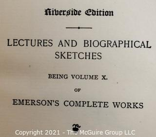 "Books: Three (3) Leather Bound Volumes: ""Emerson's Complete Works"""