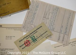 Collection Of Railroad Ephemera Including Seaboard Railway Timetable, Accident Reports, Certificates, Correspondence and Delay and Arrival Report.