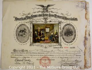 Membership Certificate of A. W. Pillsbury in the American Flag and Betsy Ross Memorial Association.