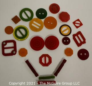 Collection of Vintage Bakelite Buttons and Buckles.