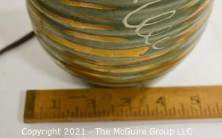 """Vintage Mid Century Modern Hand Painted Ceramic Table Lamp.  Measures approximately 32""""T.  No Shade."""
