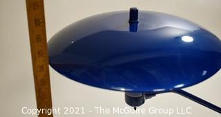 "Blue Mid Century Modern MCM ""Saucer-style"" Metal Table Lamp"