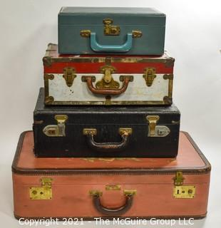 Collcetion of Vintage Suitcases by Diferent Makers in Various Sizes.  One Hand Painted.