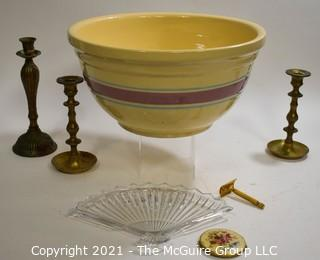 Large WATTS Ceramic Pottery Mixing Bowl, Candle Sticks and Vanity Items.