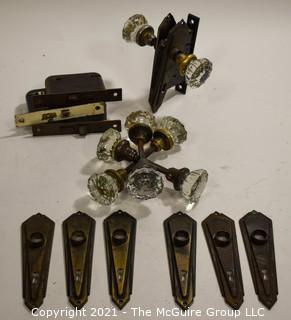 Collection of Vintage Glass Door Knobs and Door Hardware