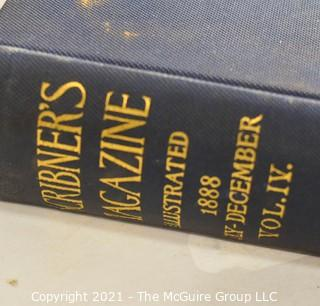 """Books: Collection of 2 books including: <pb> <pb> """"The Century Illustrated Monthly Magazine, May 1890 - Oct 1890""""; and pb> <pb> """"1888 Scribner's Magazine, July - December"""""""