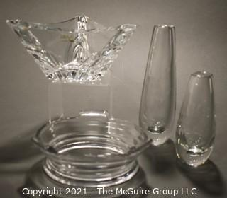 Four Pieces of Clear Glass Crystal Decorative Items.