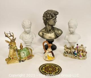 Group of Ceramic Busts and Decorative Items.