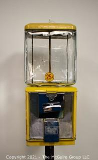 Vintage Northwestern Glass Globe 25 Cent Candy or Peanut Gumball Vending Machine on Stand.